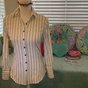 Zara Basic button front shirt w/silver threads